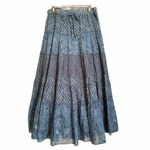 Ralph Lauren Indigo Blue Tiered Prairie Skirt